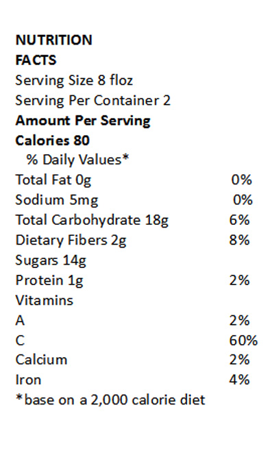 Apple Berry Fiber | Nutritional Information